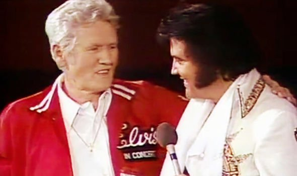 Elvis with his father Vernon two months before his death