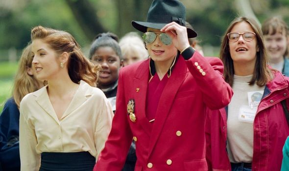 Michael Jackson with ex Lisa Marie Presley and guests at Neverland