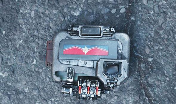 captain marvel symbol on device