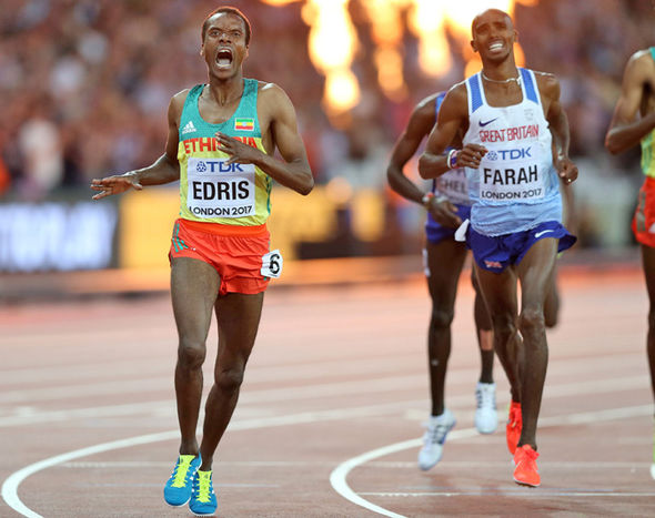 Mo Farah is beaten by Muktar Edris