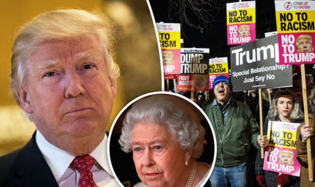 Donald Trump, Queen and protests in London