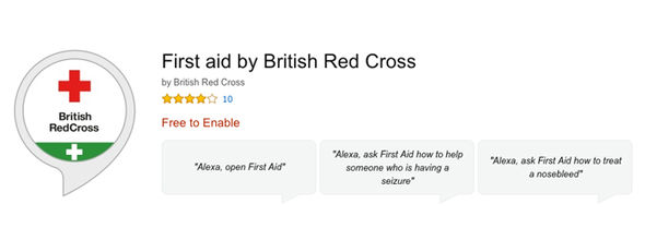The  British Red Cross Skill lets Amazon Echo owners quickly access simple, spoken first aid instructions