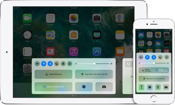 Apple iPhone 8 control centre
