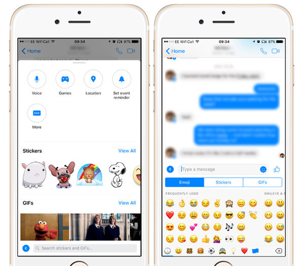 There are a number of baffling duplications in Messenger, like these two shortcuts to send Stickers, GIFs