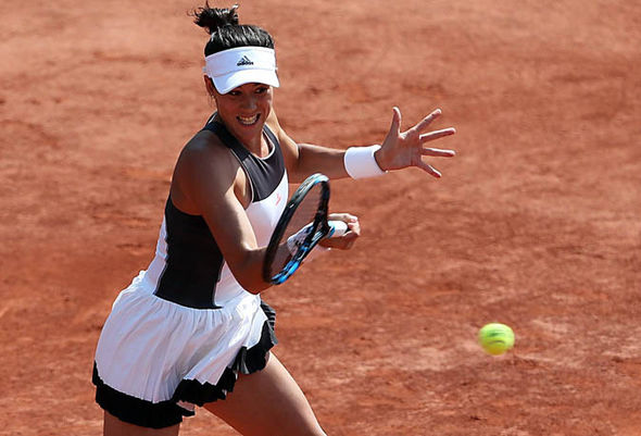 Garbine Muguruza playing at the French Open 2017
