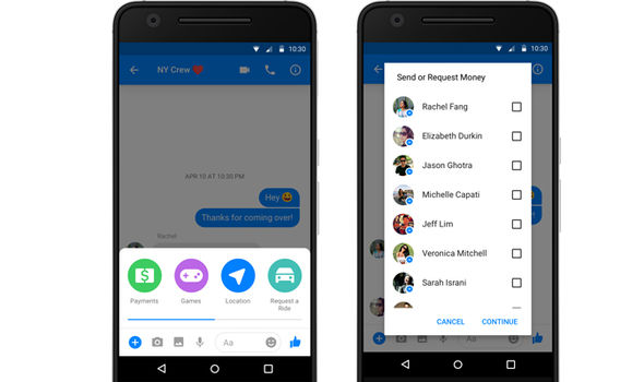 facebook messenger group chat payments