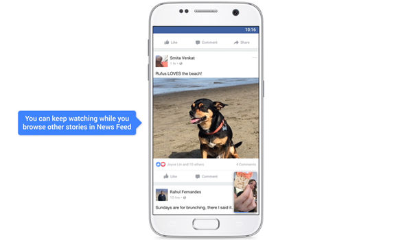 facebook news feed open video scrolling