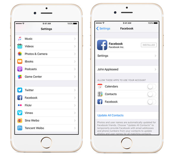 Since 2012, Apple has enabled Facebook login directly within the iOS Settings menu