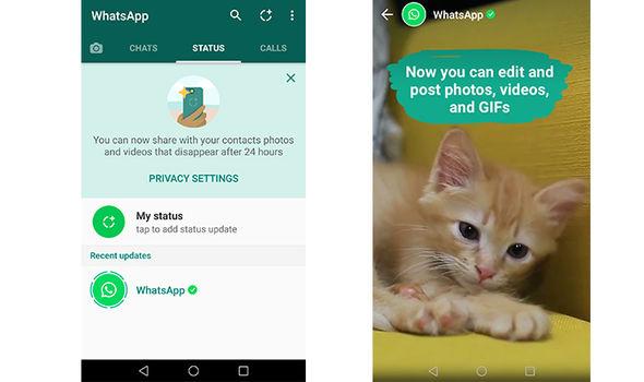 whatsapp status menu access images