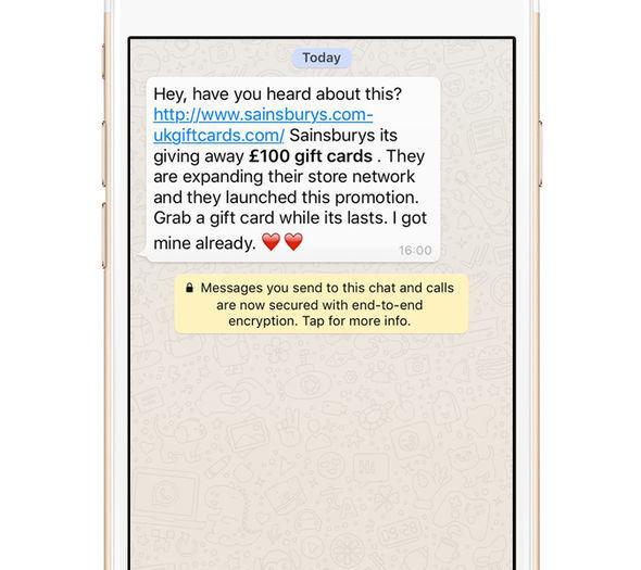 whatsapp scam text message sainsburys voucher