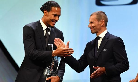Virgil van Dijk at the UEFA Awards 2018-19