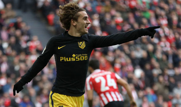 Antoine Griezmann celebrates scoring for Atletico Madrid against Athletic Bilbao