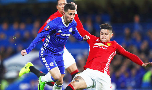 Eden Hazard in FA Cup action for Chelsea against Manchester United