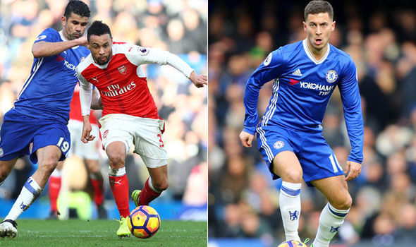 Diego Costa and Eden Hazard in action for Chelsea against Arsenal