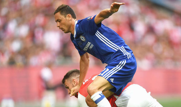 Nemanja Matic in FA Cup final action for Chelsea against Arsenal