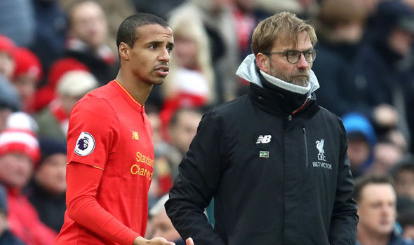 Joel Matip with Liverpool manager Jurgen Klopp