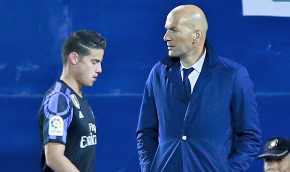 Real Madrid player James Rodriguez substituted
