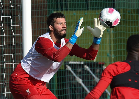 Alisson is hoping he will be fit for Liverpool against Man Utd