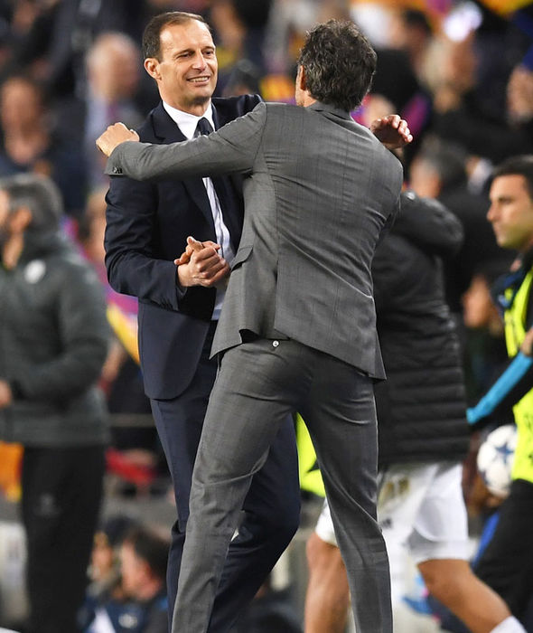 Juventus boss Massimo Allegri hugs Luis Enrique after the game