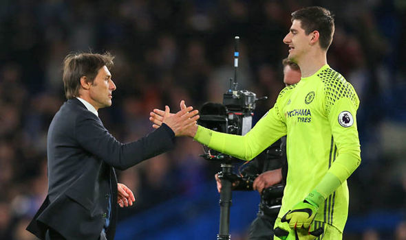 Antonio Conte and Courtois at Chelsea