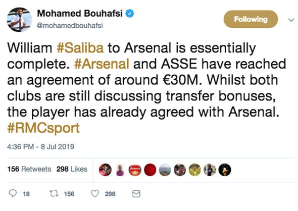 Arsenal have agreed a deal to sign Saint-Etienne defender William Saliba