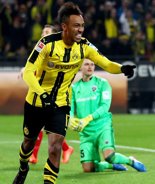 Pierre-Emerick Aubameyang scoring for Borussia Dortmund