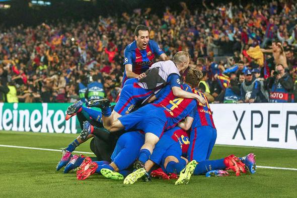 Barcelona PSG celebrations
