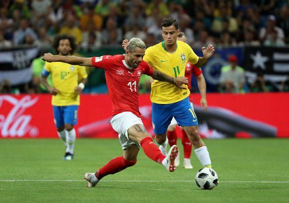 Image result for coutinho goal vs Switzerland