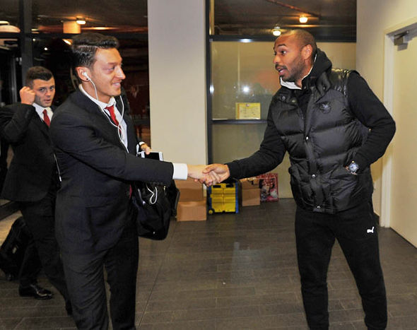 Mesut Ozil and Thierry Henry at Arsenal