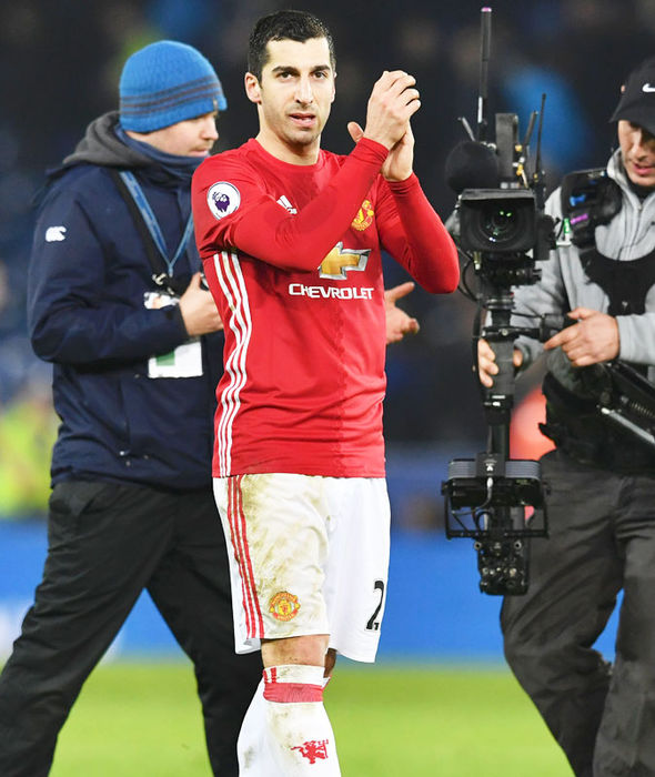 Henrikh Mkhitaryan celebrates Manchester United's win over Leicester