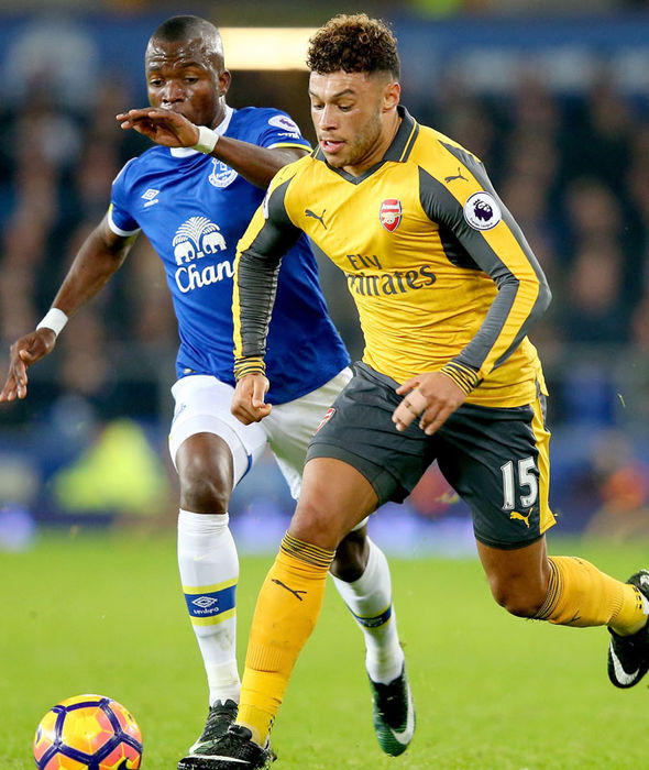 Alex Oxlade-Chamberlain in action for Arsenal against Everton