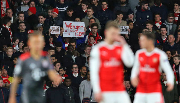 Protests continued throughout the match after Arsenal were humiliated by Bayern Munich