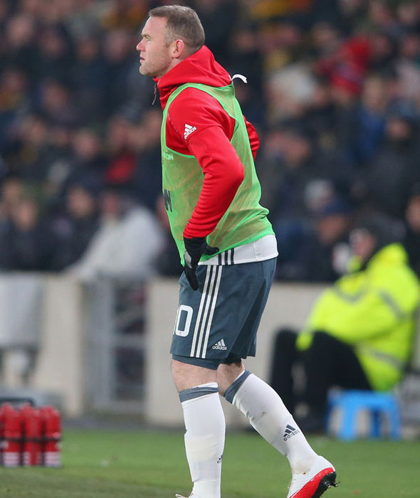 Wayne Rooney warming up during Manchester United's game against Hull