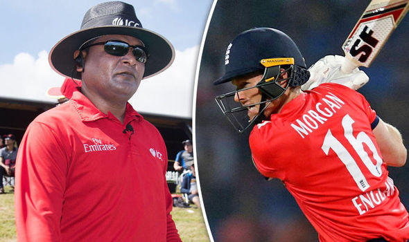 England captain Eoin Morgan and umpire Chettithody Shamshuddin