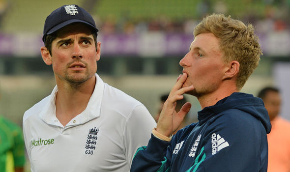 England cricket captain Joe Root and Alastair Cook
