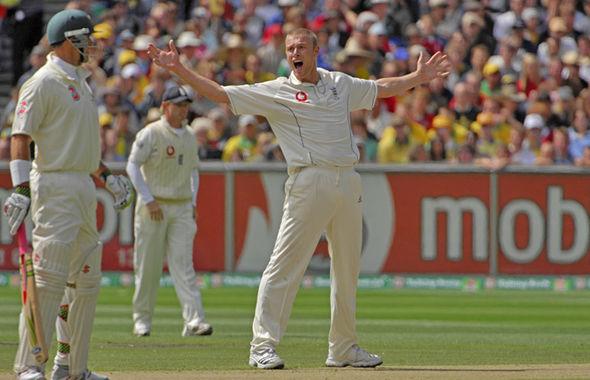 Freddie Flintoff captaining the England cricket team