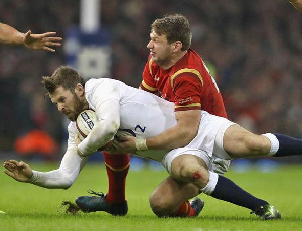 Dan Biggar playing for Wales