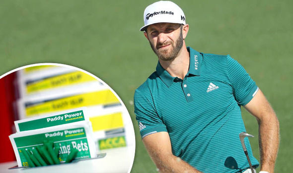Dustin Johnson at Masters 2017, betting slip