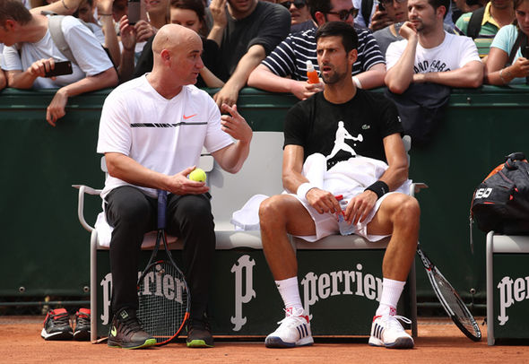 Novak Djokovic and Andre Agassi