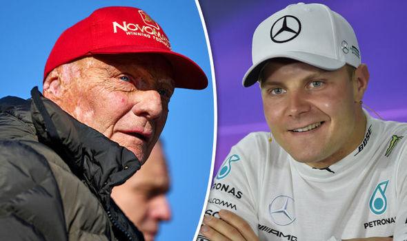 Mercedes F1 driver Valtteri Bottas and Niki Lauda