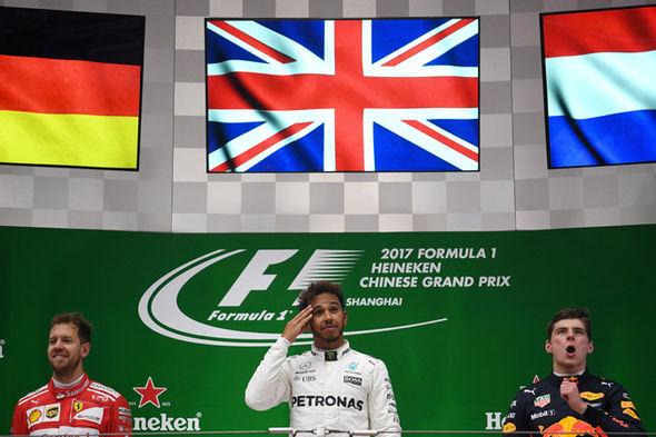 Lewis Hamilton on the Chinese Grand Prix podium