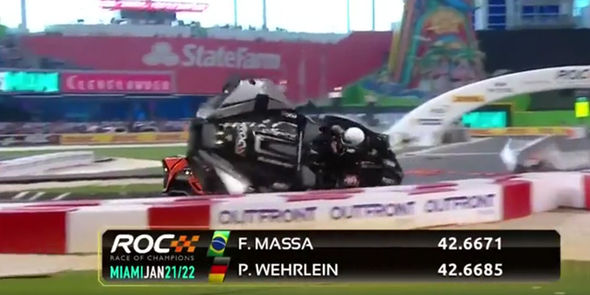 Pascal Wehrlein crashes his Polaris Slingshot