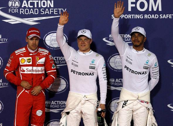 Valtteri Bottas, Lewis Hamilton and Sebastian Vettel