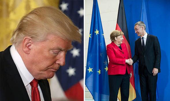 Donald Trump and Angela Merkel and NATO Secretary General Jens Stoltenberg