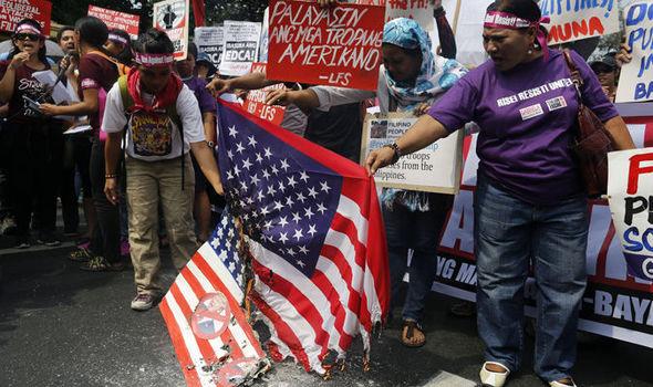 US flag burned