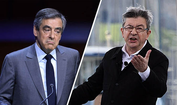 French election polls Melenchon favourite Fillon Macron Le Pen