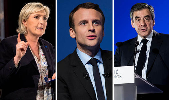 Marine Le Pen, Emmanuel Macron and Francois Fillon