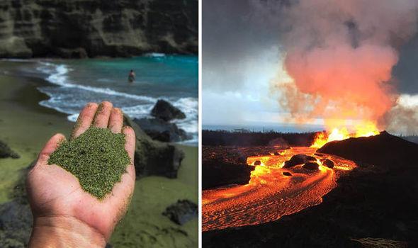 Hawaii volcano update: green gemstones