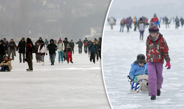 The Hungarian lake froze over for the first time in a decade,