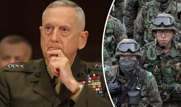 James Mattis and South Korean soldiers